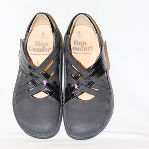 Finn Comfort Black Nubuck Leather Clogs 36